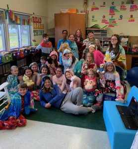 photo shows students dressed in pajamas
