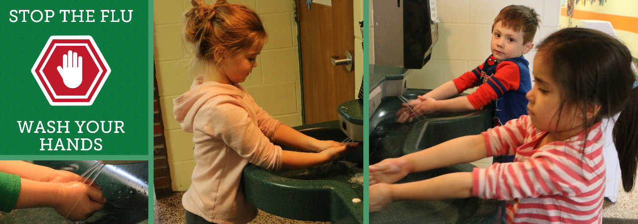 Collage of students washing hands to promote health