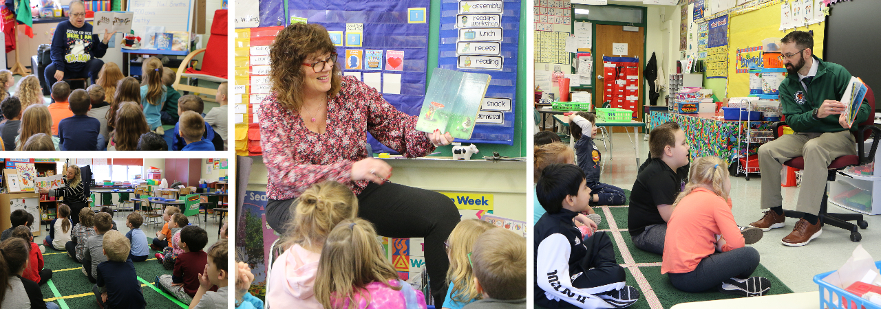 photo shows adults reading books to kindergarten and pre-k students