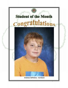 Student of the Month Congratulations Andrew of Cortland