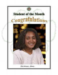 Student of the Month Congratulations Ella of Albany