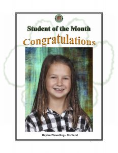 Student of the Month Congratulations Haylee of Cortland