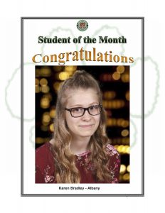 Student of the Month Congratulations Karen of Albany
