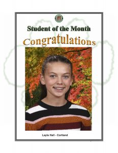 Student of the Month Congratulations Layla of Cortland