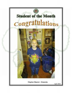 Student of the Month Congratulations Clayton of Oneonta