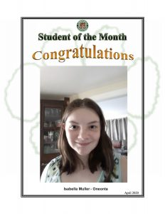 Student of the Month Congratulations Isabella Muller of Oneonta