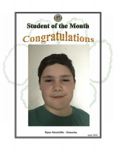 Student of the Month Congratulations Ryan of Oneonta
