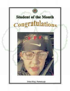 Student of the Month Congratulations Cloe King of Plattsburgh