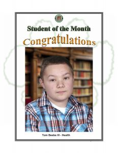 Student of the Month Congratulations Tom, Health