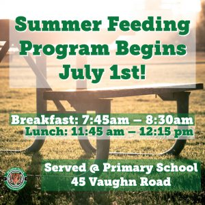 photo shows picnic table with words summer feeding program begins july 1st