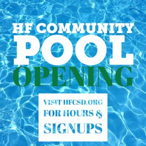 photo shows background of water with the words HF Community Pool Opening