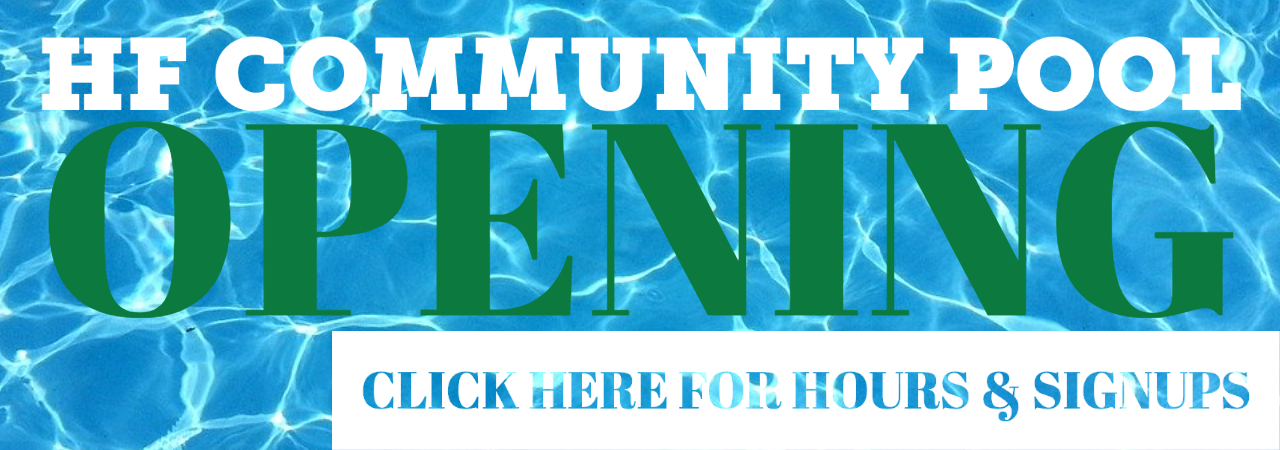 "photo shows background of water with the words ""HF Community Pool Opening"" Over the top of it."