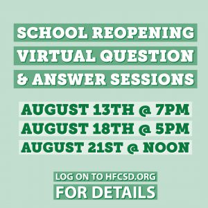 photo shows green background with the writing school reopening virtual question & answer sessions
