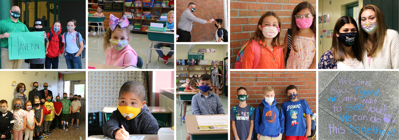 photo shows a collage of students smiling with masks on