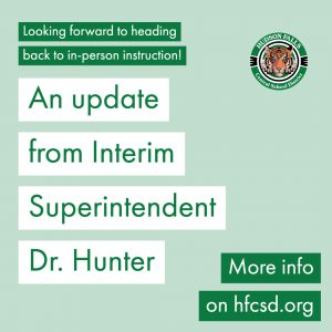 photo shows graphic saying an update from interim superintendent dr. Hunter
