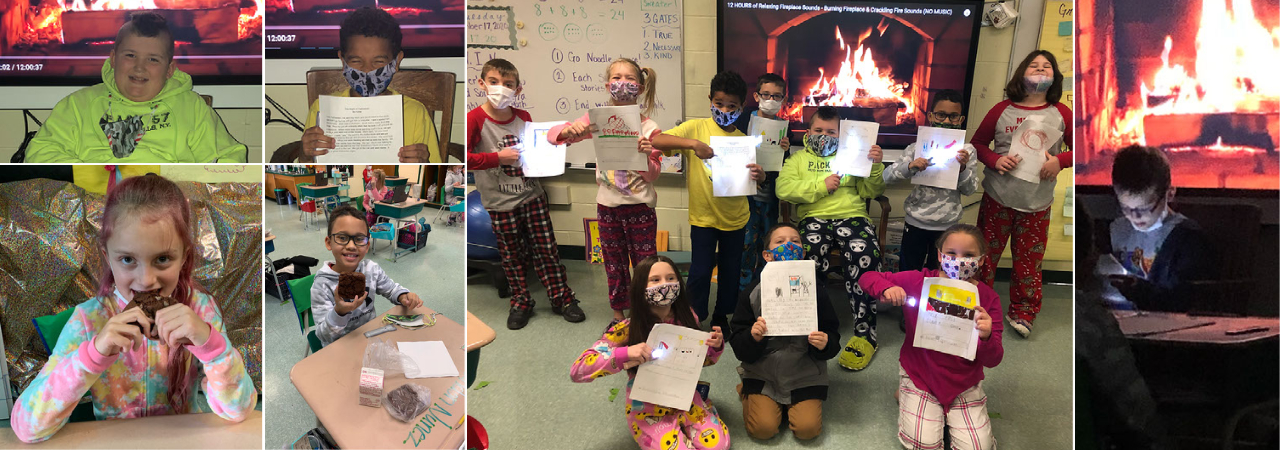 photo shows collage of 3rd grade writing students