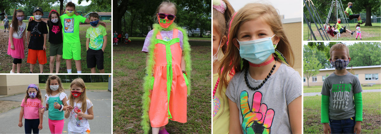 photo shows kids outside with masks on and neon clothing