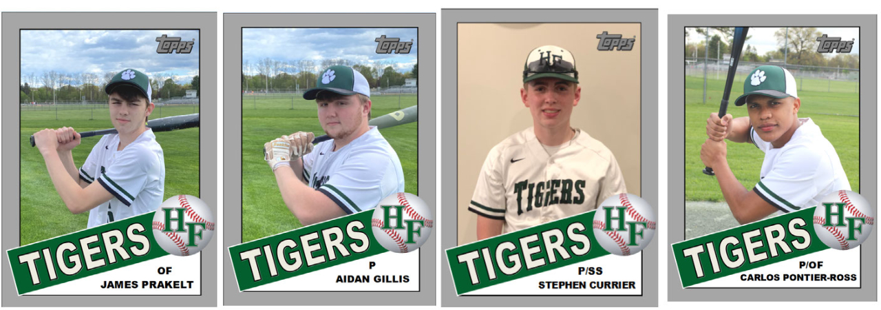 Baseball players pose in baseball card style photos